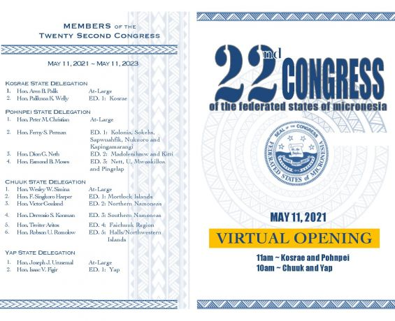 """Opening Ceremony and Session of the New 22nd FSM Congress to be Held Virtually """"Across All Micronesia"""""""